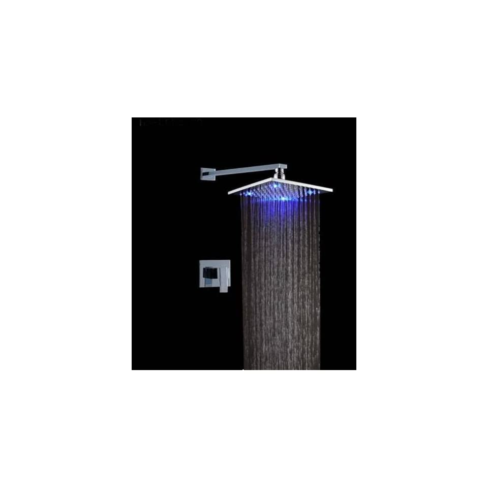 Faucetland 024002045 Single Handle Wall Mount Rain Shower Faucet?build in LED Lights,chrome