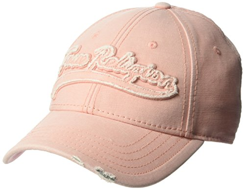 (True Religion Men's Washed Applique Ball Cap, Shadow Pink, OSFA)