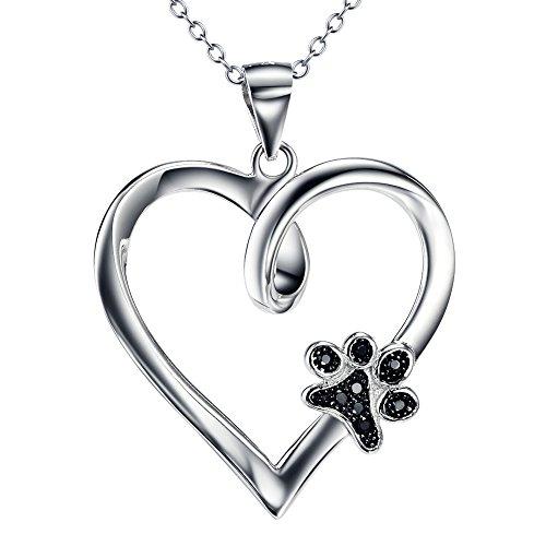 YFN Damen 925 Sterling Silber und Zirkonia Forever Love Herz Puppy Pfote Anhänger Kette Halskette, 45,7 cm