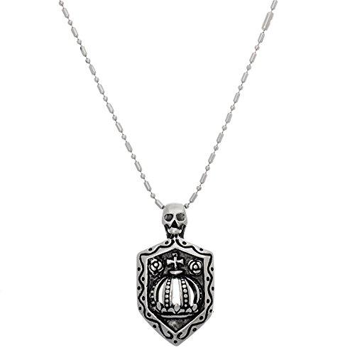Willowbird Skull Cross Crown Shield Pendant on Necklace for Men in Stainless Steel