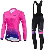Uriah Women's Cycling Jersey Bib Pants Black Sets Long Sleeve Reflec