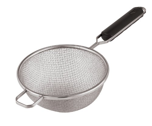 Paderno World Cuisine 7-7/8-Inch Double Mesh Stainless-steel Strainer with ABS Handle - Paderno World Cuisine Mesh