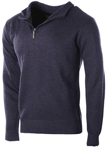 Enimay+Men%27s+Sophisticated+Mid+Zip+Up+Slim+Fit+Long+Sleeve+Turtleneck+Sweater+Navy+Small