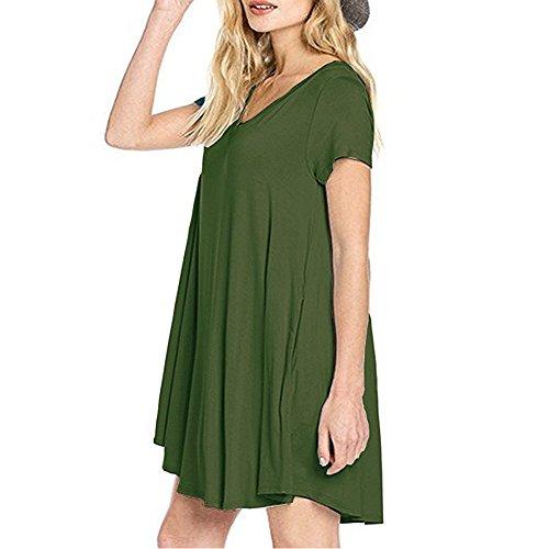 de Verano los Corta Manga Manga Rodilla Vestidos la Vestidos Vestidos de de DEFOV Casuales Camiseta V Ejército Las Corta Verde de de Casual hasta Cuello Vestidos de Mujeres Bolsillos wgvaaq