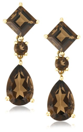 14k Yellow Gold Pear and Square Shaped Smoky-Quartz Drop Earrings