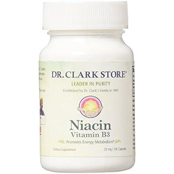 Dr. Clark Niacin (Vitamin B3) Supplement, 25mg, 100 capsules