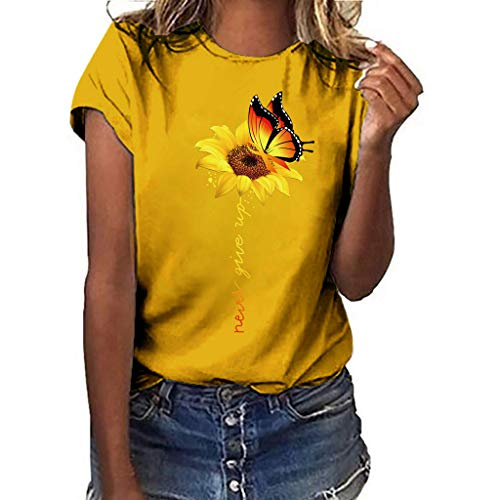 A Little Sunflower Funny Graphic T Shirt Tees Women Crew Neck Short Sleeve Shirts Tops Yellow