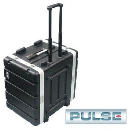 Pro Audio DJ Rolling ABS Rack Mount Flight Case Stackable Electronic Equipment Case- Eight Rack Spaces 8RU by Pulse