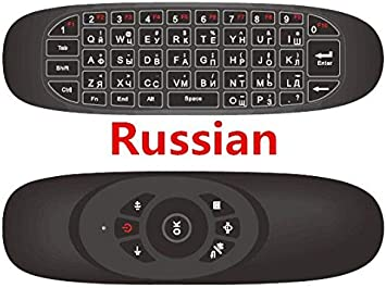 Color: English Calvas Russian English C120 Fly Air Mouse 2.4G Mini Wireless Keyboard Rechargeable Remote Control For PC Android TV Box