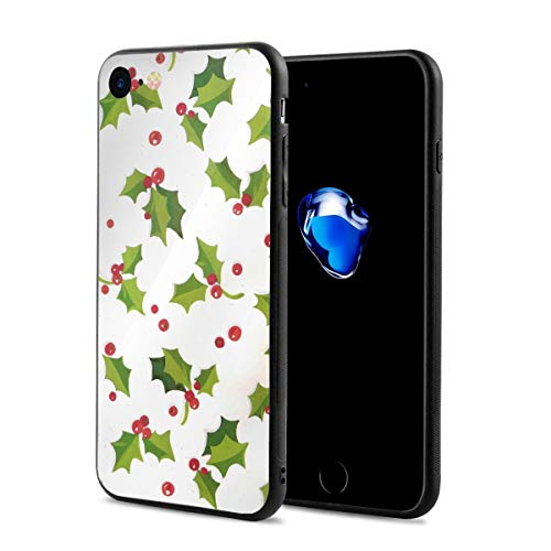 (iPhone 7 Case, iPhone 8 Case, Personalized Holly Christmas Wrapping Paper iPhone Protective Cover Anti-Scratch Shockproof Silicone for iPhone 7, iPhone 8 (Standard 4.7