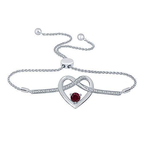 1/10ct Round White Natural Diamond 925 Sterling Silver Ruby Heart Infinity Bolo Strand Adjustable Bracelet For Teens Womens