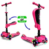 Hurtle 3 Wheeled Scooter for Kids - 2-in-1 Sit/Stand Child Toddlers w/Flip-Out Seat, w/Footrest, Adjustable Height, Wide Deck, Flashing Wheel Lights, for Children 1 to 14 Year-Old, for Outdoor-(Pink)