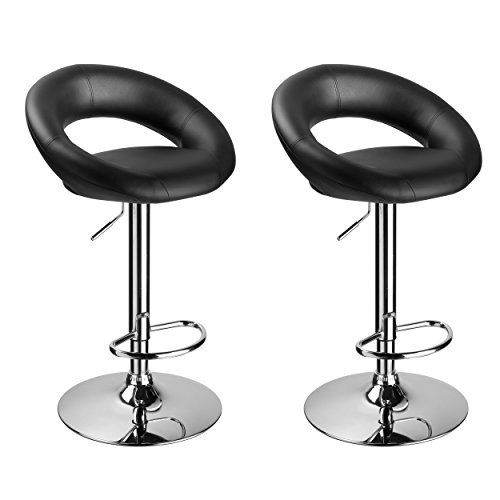Bar Stool Set of 2 WY-171B Crescent Adjustable Bar Stools with Faux Leather Seat Duhome (Black)