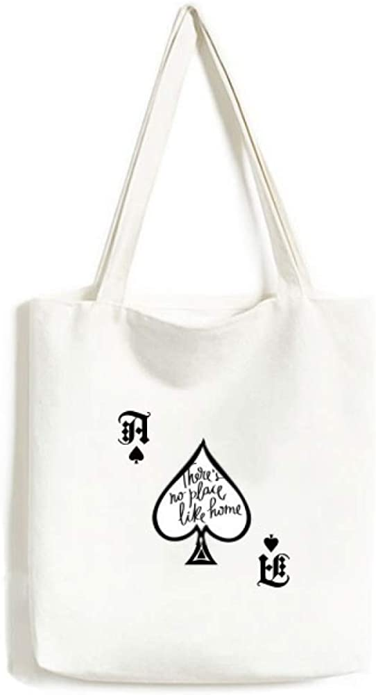 There's No Place Like Home Quote Handbag Craft Poker Spade Canvas Bag Shopping Tote
