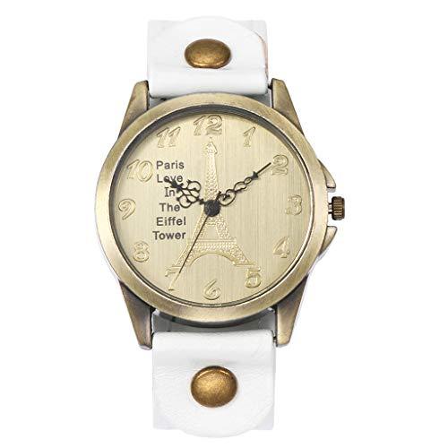 Swyss Women's Punk Vintage Leather Strap Band Wristwatch Cuff Quartz Watch for Her(White) ()