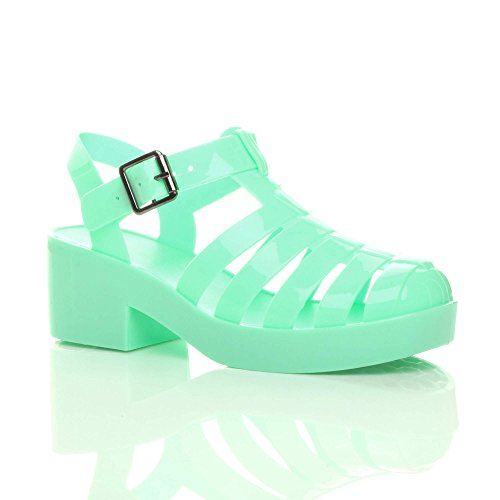 cut block Womens kids sandals jelly retro girls shoes out gladiator heel Jelly Mint low mid Green rubber size wUUxzqrI5