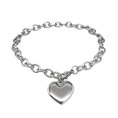Wholesale Womens Stainless Steel Heart Charm Chain Bracelet Adjustable (6.5 - 8 Inch)