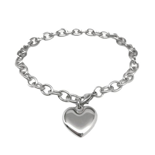 Womens Stainless Steel Heart Charm Chain Bracelet Adjustable (7.5 - 8 Inch) (Chain Charm Heart Bracelet)