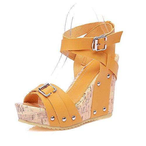 fa600440add Amoonyfashion Womens Solide Zacht Lederen Hoge Hakken Gesp Open-teen  Sandalen Geel. schoenen ...