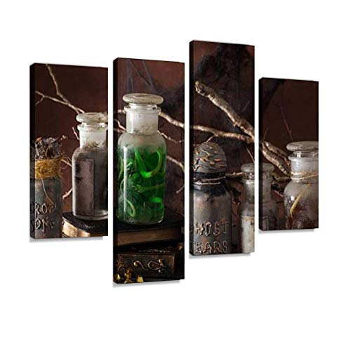 Witch Apothecary Jars Magic Potions Halloween Decoration Canvas Wall Art Hanging Paintings Modern Artwork Abstract Picture Prints Home Decoration Gift Unique Designed Framed 4 Panel