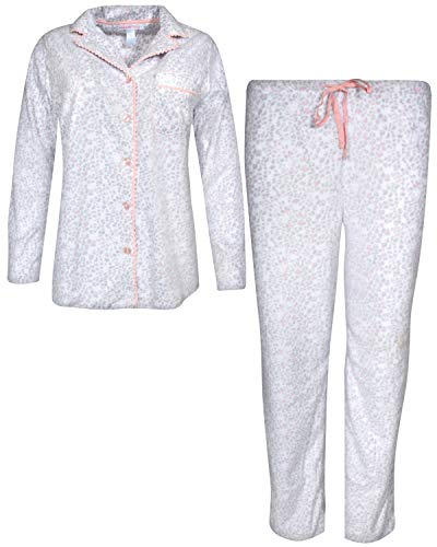 Pillow Talk Women's Sleepwear Microfleece Pajama Top and Pant 2-Piece Set, White Leopard, Small' ()