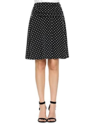 ELESOL Women Ruched Fold Over Waist Polka Dot Stretchy Casual Flared Skirt