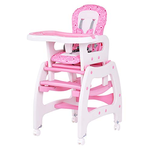 - Costzon Baby High Chair, 3 in 1 Convertible Play Table Set, Booster Rocking Seat with Removable Feeding Tray, 5-Point Harness, Lockable Wheels (Pink)