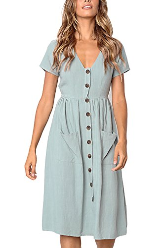 Alelly Womens Summer Casual Short Sleeve A Line Swing Mini Dress with Pockets