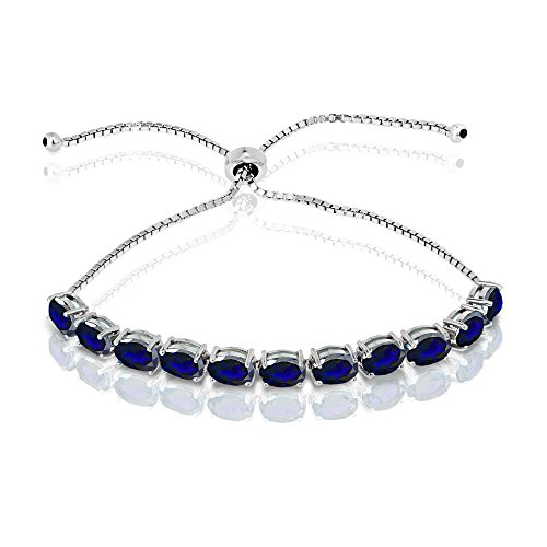 GemStar USA Sterling Silver Created Blue Sapphire 7x5mm Oval-Cut Adjustable Tennis Bracelet