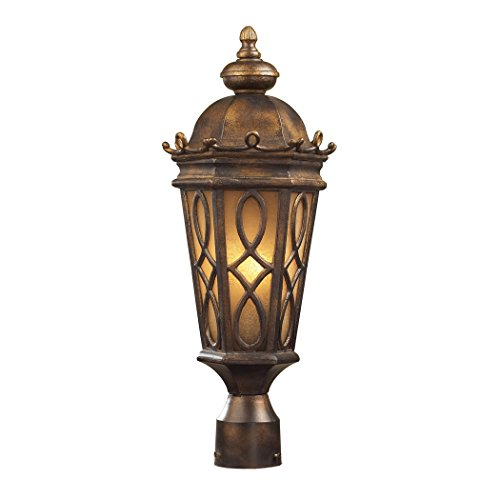 Alumbrada Collection Burlington Junction 2 Light Outdoor Post Light In Hazlenut Bronze And Amber Scavo Glass (Burlington Dining Set)