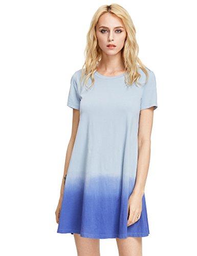 Romwe Women\'s Tunic Swing T-Shirt Dress Short Sleeve Tie