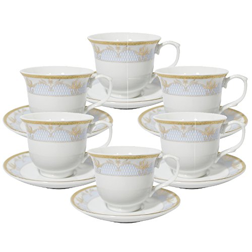 Set of 12 Blue Gold Floral Design Tea Cup Saucer Set for 6 with Gift Box IG1348-12 [A-to-Z Deals] ()