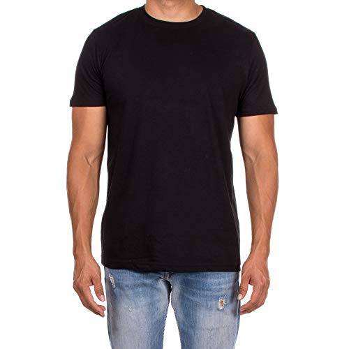 NTD Apparel Men's Essentials 3-Pack Short-Sleeve Tagless Crewneck T-Shirts (Black, -