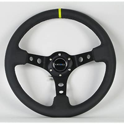 NRG Innovations, ST-006BK-Y, 350mm 3 Inches Deep Dish 6 Hole Racing Steering Wheel Black Leather Yellow Pointer with Horn Button ST-006BK-Y: Automotive