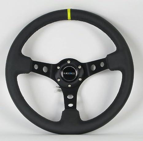 WENJTP 14 350mm Deep Steering Wheel,Dish 6 Bolt with PVC for JDM Sport Racing Steering Suede Wheel