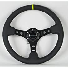 NRG Innovations, ST-006BK-Y, 350mm 3 Inches Deep Dish 6 Hole Racing Steering Wheel Black Leather Yellow Pointer with Horn Button ST-006BK-Y