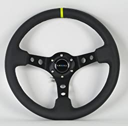 NRG Steering Wheel - 06 (Deep Dish) - 350mm (13.78 inches) - Black Leather with Black Spokes / Yellow Stripe - Part # ST-006BK-Y