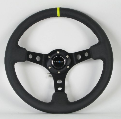NRG Innovations, ST-006BK-Y, 350mm 3 Inches Deep Dish 6 Hole Racing Steering Wheel Black Leather Yellow Pointer with Horn Button ST-006BK-Y (Wheel Wrapped Steering Leather)