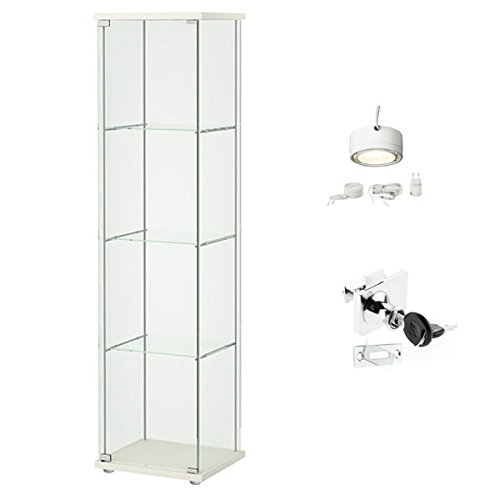 Ikea Detolf Glass Curio Display Cabinet White Lockable Light And
