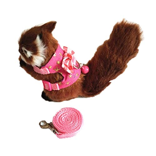 Stock Show Small Animal Outdoor Walking Vest Harness and Leash Set with Cute Bowknot and Clear Bell Decor Chest Strap Harness for Hamster Ferret Guinea Pig Rat Clothes Accessory, Pink