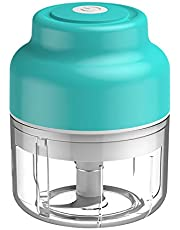 2021 Improved Electric Mini Garlic Chopper, Wireless Portable Mini Electric Food Chopper, Rechargeable, Powerful Food Processor for Garlic/Onions/Nuts/Pepper/Ginger, Baby Food Maker, Vegetable Chopper, Kitchen Appliances, Electric Grinder, Portable, Easy Cleaning, BPA Free, 100ml, Blue