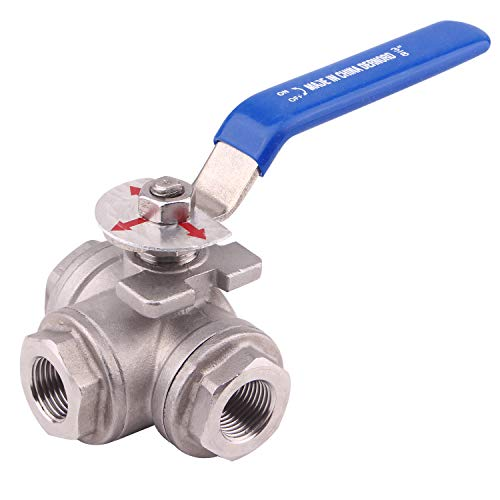 DERNORD 3-Way Ball Valve, T Mounting Pad, Stainless Steel 304 Female Type for Water, Oil, and Gas with Vinyl Locking Handle (3/8 Inch NPT)