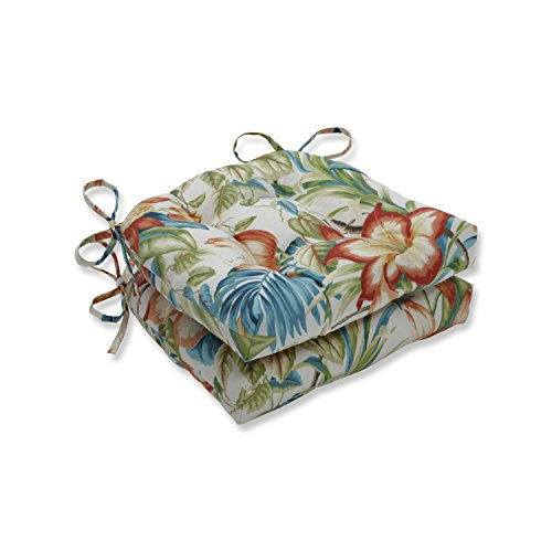 Pillow Perfect Outdoor | Indoor Botanical Glow Tiger Lily Reversible Chair Pad (Set of 2), Blue 16 X 15.5 X 4