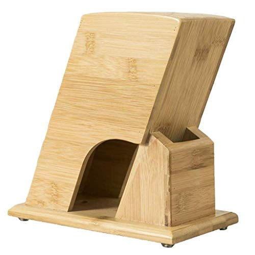 CUJUX Bamboo Wood Knife Block without Knives, Block Knife Holder and Organizer with Wide Slots for Easy Kitchen Knife Storage
