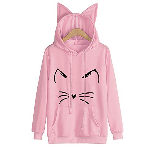 Rambling Hot Style Girls Cute Cat Ear Pullover Hoodie Long Sleeve Kangaroo Pouch Sweatshirts Hoody (Pink, M) ()