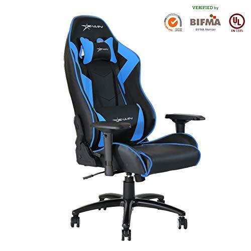 Ewin Gaming Chair 4D Armrests Memory Foam PU Leather with Headrest Lumbar Support Ergonomic High-Back Racing Computer Office Chair Champion Series Blue Ewin Chair