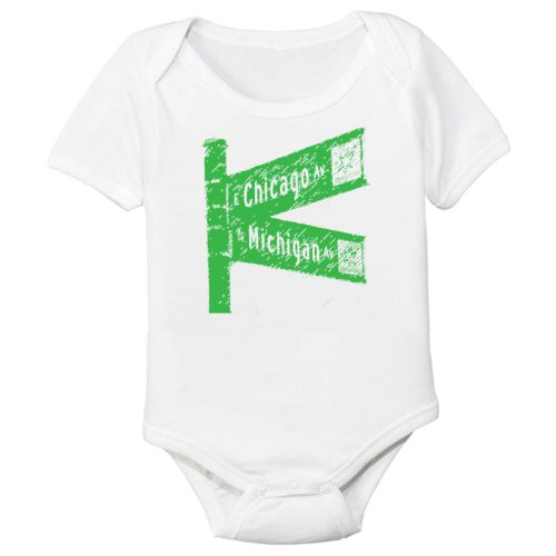 Chicago Michigan Avenue Organic Baby Bodysuit - Ave Michigan Ave And Chicago