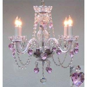 CRYSTAL CHANDELIER LIGHTING WITH PINK CRYSTAL HEARTS! H17 X W17 SWAG PLUG IN-CHANDELIER W/14' FEET OF HANGING CHAIN AND WIRE! - PERFECT FOR KID'S AND GIRLS BEDROOM!