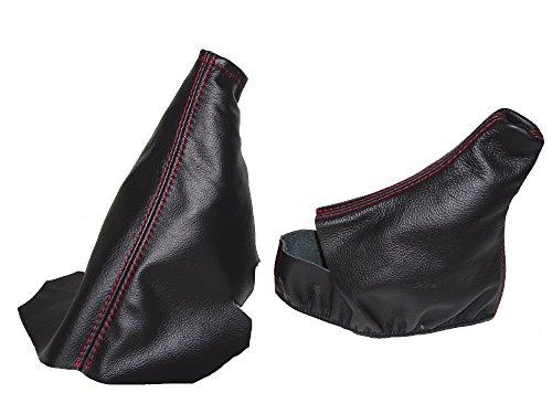 For Chevrolet Corvette C5 1997-2004 Automatic Shift & E Brake Boot Black Genuine Leather Red - Corvette Shift Boot