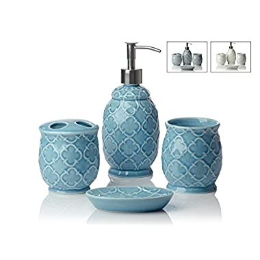 Designer 4-Piece Ceramic Bath Accessory Set by Comfify | Includes Liquid Soap or Lotion Dispenser w/ Premium Metal Pump, Toothbrush Holder, Tumbler, Soap Dish | Moroccan Trellis | Turquois Blue
